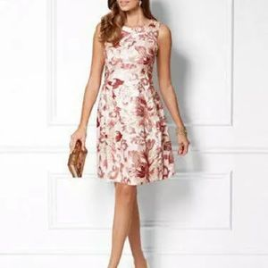 Eva Mendes pink sequence fit and flare dress sz 4